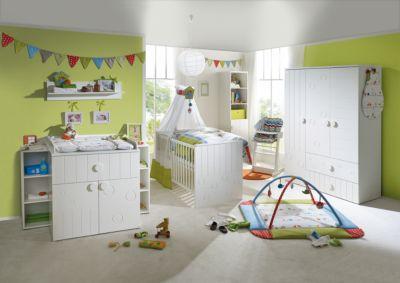 Komplett Kinderzimmer CAMBINO PLAY, 3-tlg. (Kinderbett, Wickelkommode breit und 3-türiger Kleiderschrank), Weiß weiß Gr. 70 x 140
