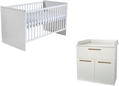 Roba Kinderbett & Wickelkommode (schmal 2-türig) Sparset CAMBINO CITY, Weiß & farbige Griffhinterlegung weiß Gr. 70 x 140
