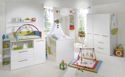 Komplett Kinderzimmer CAMBINO CITY, 3-tlg. (Kinderbett, Wickelkommode breit und 3-türiger Kleiderschrank), Weiß & farbige Griffhinterlegung weiß Gr. 70 x 140