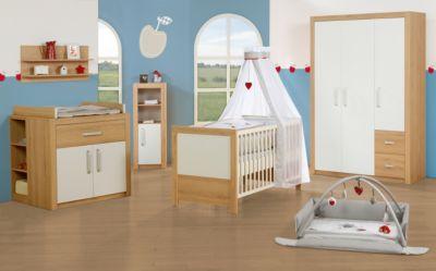 Kinderbett & Wickelkommode (schmal) Sparset LOUISA, Weiß/Eiche weiß Gr. 70 x 140