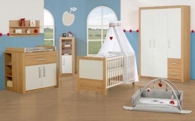 Roba Komplett Kinderzimmer LOUISA, 3-tlg. (Kinderbett, Wickelkommode und 2-türiger Kleiderschrank), Weiß/Eiche weiß Gr. 70 x 140