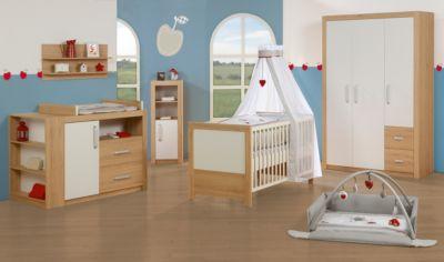 Komplett Kinderzimmer LOUISA, 3-tlg. (Kinderbett, Wickelkommode breit und 3-türiger Kleiderschrank), Weiß/Eiche weiß Gr. 70 x 140