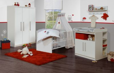 Kinderbett & Wickelkommode (schmal) Sparset MAREN, Weiß weiß
