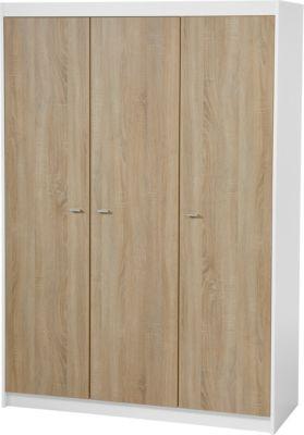 Kleiderschrank GABRIELLA, 3-türig, Sonoma Eiche/Weiß holzfarben