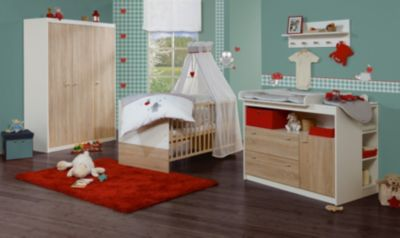 Roba Sparset GABRIELLA, Kinderbett & Wickelkommode (breit), Sonoma Eiche/Weiß holzfarben Gr. 70 x 140