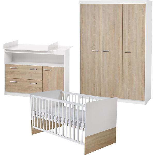 Komplett Kinderzimmer Gabriella 3 Tlg Kinderbett Wickelkommode Und 3 Turiger Kleiderschrank Sonoma Eiche Weiss Holzfarben Roba