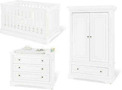 Komplett Kinderzimmer EMILIA, (Kinderbett, Wickelkommode, Kleiderschrank 2-trg.), MDF weiß Gr. 70 x 140
