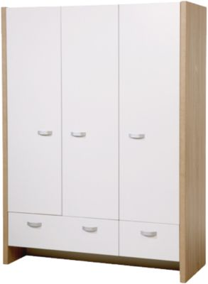 Roba Kleiderschrank ANCONA, 3-türig, Weiß/Eiche Sägerau weiß