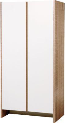 Kleiderschrank 2-türig MAXIMA, Eiche/sägerau weiß