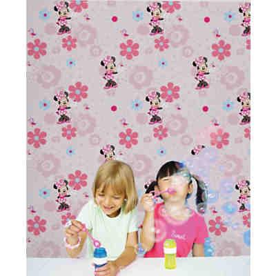 Tapete, Minnie Mouse, Blumen, 10 m x 53 cm, rosa, Disney Minnie Mouse