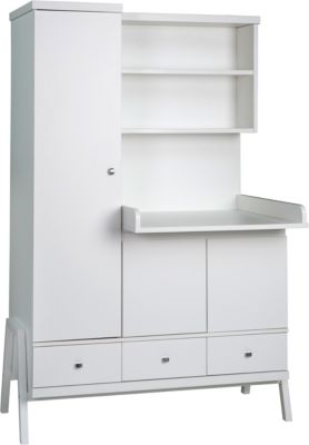 Schrank-/Wickelkombination Holly White, umbaubar, weiß