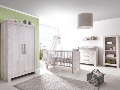 Schardt Komplett Kinderzimmer Nordic Cascina, 3-tlg. (Kinderbett, Umbauseiten, Wickelkommode und Kleiderschrank 2-trg.), Cascina Pinie weiß Gr. 70 x 140
