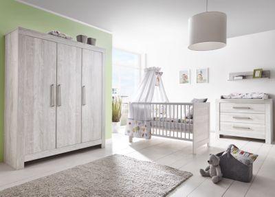 Schardt Komplett Kinderzimmer Nordic Cascina groß, 3-tlg. (Kinderbett, Umbauseiten, Wickelkommode und Kleiderschrank 3-trg.), Cascina Pinie grau Gr. 70 x 140