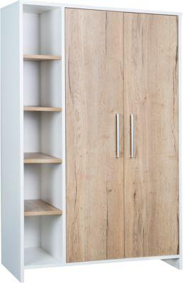 Schardt Kleiderschrank Eco Plus 2-trg. mit Seitenregal, weiß/Halifax Eiche holzfarben