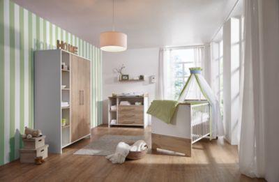 Schardt Komplett Kinderzimmer Eco Plus, 3 tlg., (Kinderbett, Wickelkommode und Kleiderschrank 2-trg.), weiß/Halifax Eiche holzfarben Gr. 70 x 140