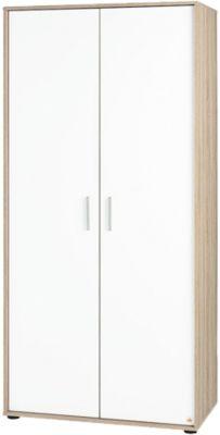 Kleiderschrank Clemens, 2-türig, Eiche/ Weiß weiß