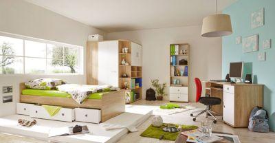 Komplett Jugendzimmer Corner, 4-tlg., (Einzelbett, Kleiderschrank, Kommode, Schreibtisch), Sonoma weiß Gr. 90 x 200