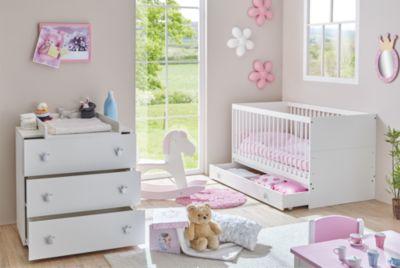 Babyzimmer Paula, 3-tlg (Kinderbett, Schubkasten, Wickelkommode), weiß Gr. 70 x 140
