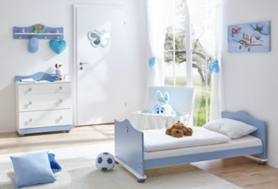 Babyzimmer Prinz, 3-tlg.(Kinderbett, Wickelkommode, Wandregal) blau Gr. 70 x 140
