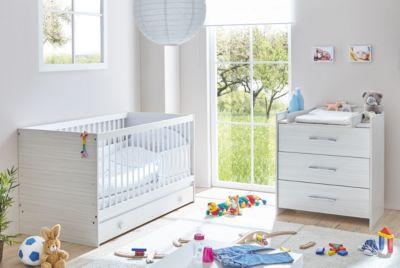 Babyzimmer Leona, 3-tlg. (Kinderbett, Schubkasten, Wickelkommode) grau meliert Gr. 70 x 140