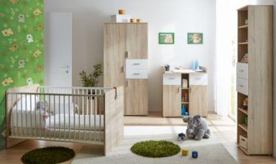 TICAA Babyzimmer Nico, 4-tlg. (Kleiderschrank, Standregal, Wickelkommode, Kinderbett), Sonoma-weiß holzfarben Gr. 70 x 140