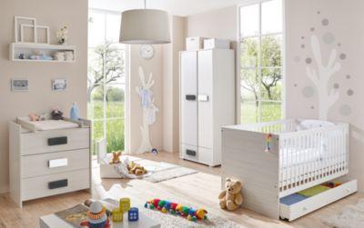 Babyzimmer Irene Classic, 5-tlg. (Kinderbett, Schubkasten, Wickelkommode, Kleiderschrank Wandregal), grau meliert weiß Gr. 70 x 140