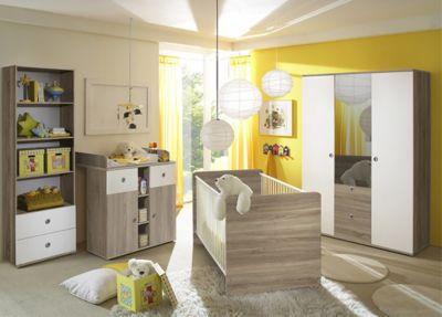 Babyzimmer Milu II, 4-tlg. (Kleiderschrank 3-trg., Babybett, Wickelkommode, Standregal), Sonoma-weiß holzfarben Gr. 70 x 140