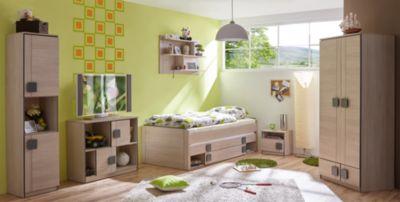 Komplett Jugendzimmer Camo, 6-tlg., (Einzelbett, Kleiderschrank, Standregal, Kommode, Nachttisch, Wandregal), grau Gr. 90 x 200