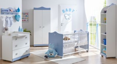 Babyzimmer Prinz, 5-tlg. (Kinderbett inkl. Lattenrost, Wickelkommode, Wandregal, Standregal, Kleiderschrank 2-trg.) blau Gr. 70 x 140