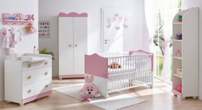 Babyzimmer Prinzessin, 5-tlg. (Kinderbett, Wickelkommode, Wandregal, Standregal, Lattenrost) rosa Gr. 70 x 140