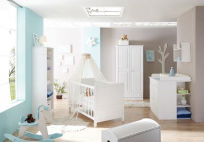 Babyzimmer Moritz, 5-tlg. (Babybett, Wickelkommode, Anstellschrank, Standregal, Kleiderschrank), Kiefer weiß Gr. 70 x 140