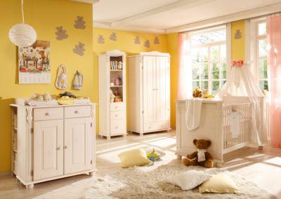 Babyzimmer Lara, 5-tlg. (Kleiderschrank 2-trg., Kinderbett, Wickelkommode, Standregal, Wandregal)Kiefer weiß holzfarben Gr. 70 x 140