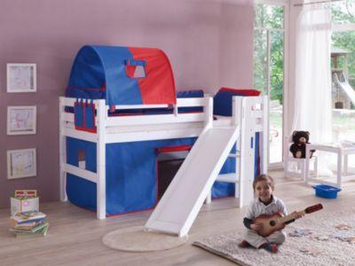 Relita Spielbett ELIYAS mit Rutsche, Buche massiv, weiß lackiert, 90 x 200 cm   Kinderzimmer > Kinderbetten > Hochbetten   Weiß   Buche - Lackiert - Hölzer   Relita
