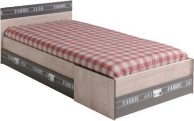 Parisot Einzelbett mit drei Schubkästen Fabric Esche-grau braun/grau Gr. 90 x 200