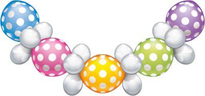 Ballongirlande Punkte, 1,75 m mehrfarbig