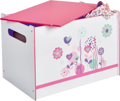 WORLDS APART Spielzeugtruhe Blumen und Schmetterlinge rosa/weiß | Kinderzimmer > Spielzeuge | Worlds Apart