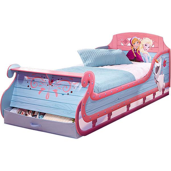 Kinderbett, Schlitten, Die Eiskönigin, inkl. Leisten, 90 x 190 cm, rosa,  Disney Die Eiskönigin