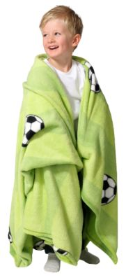 Kuscheldecke Fußball, 150 x 200 cm grün