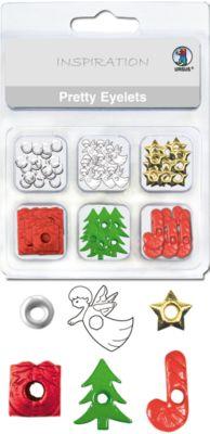 Papierösen Metall Pretty Eyelets Weihnachten, 76 Stück in 6 Designs