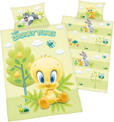 Herding Wende- Kinderbettwäsche Looney Tunes Tweety, Renforcé, 100 x 135 cm grün | Kinderzimmer > Textilien für Kinder > Kinderbettwäsche | Baumwolle | Herding