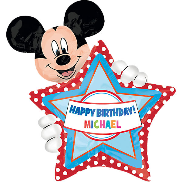 Folienballon XL Happy Birthday Mickey Mouse, personalisierbar