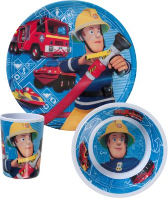 Kindergeschirr Melamin Feuerwehrmann Sam, 3-tlg...