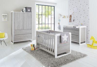 Pinolino Komplett Kinderzimmer CURVE, (Kinderbett, breite Wickelkommode und Kleiderschrank 2-trg.), Esche grau Gr. 70 x 140