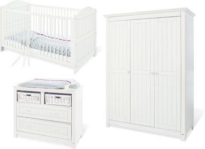 Pinolino Komplett Kinderzimmer NINA breit, (Kinderbett, Wickelkommode breit und Kleiderschrank 3-trg.), Fichte weiß lasiert Gr. 70 x 140