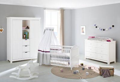 Pinolino Komplett Kinderzimmer NINA extrabreit/groß, 3-tlg., Fichte weiß Gr. 70 x 140