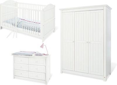 Komplett Kinderzimmer NINA groß/extrabreit, 3-tlg., Fichte weiß Gr. 70 x 140