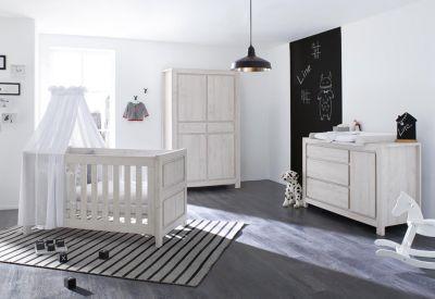 Komplett Kinderzimmer LINE breit, 3-tlg., Eiche MDF grau Gr. 70 x 140