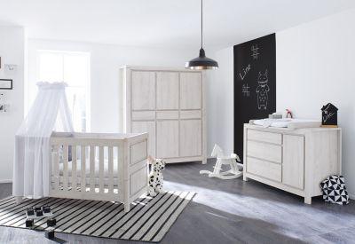 Pinolino Komplett Kinderzimmer breit LINE, 3-tlg., Eiche MDF grau Gr. 70 x 140 | Kinderzimmer > Komplett-Kinderzimmer | Pinolino