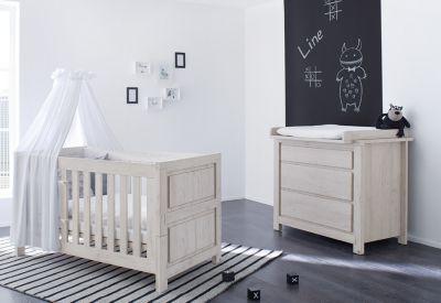 Sparset LINE breit, (Kinderbett und Wickelkommode), grau Gr. 70 x 140