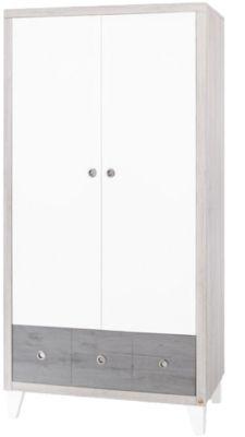 Kleiderschrank HARPER, 2-türig, MDF weiß/Eiche grau/Esche grau
